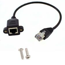 1ft RJ45 Male to Female Screw Panel Mount Ethernet LAN Network Extension Cable