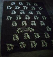 Acryl Velours Teddy Bear Plush Reversible Blanket 58X74 made in USA Vintage RARE