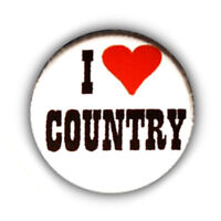 Badge I ♥ LOVE COUNTRY heart Urban Cowboy Western retro rock pin button - Ø25mm