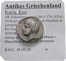 LANZ Islands Caria Kos didrachm Héraclès DEMETER SILVER GREEK § tem2667