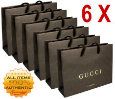 6 BRAND NEW AUTHENTIC BROWN GUCCI PAPER CARDBOARD GIFT BAGS BAG LOT