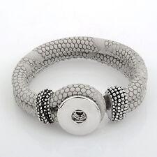 Leder ARMBAND für Chunk Click Button Druckknopf Chunks (22 cm) Taupe Grau #4132