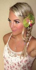 Green Pink Orchid Flower Hair Clip Slide Choochie Choo Bride Bridal Wedding Boho