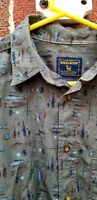 WOOLRICH LONG SLEEVE SHIRT FLY FISHING TROUT OLIVE GREEN MID WEIGHT COTTON XL