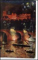 Heidelberg alte Ansichtskarte 1925 gelaufen Schloß Beleuchtung bei Nacht