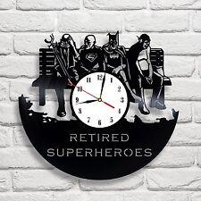 Retired Superheroes design vinyl record clock home decor art gift move office