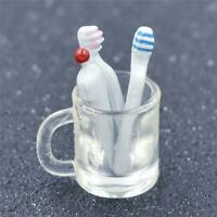 1/12 Dollhouse Miniature Bathroom Accessory Toothbrush Toothpaste Cup Glass set