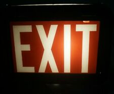 Vintage 1940s 50s Counter Top Exit Sign Metal With Glass Face Advertising