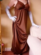 Chocolate Brown Silky with Lace Long Formal Length Bra Slip or Nightgown XL BNWT
