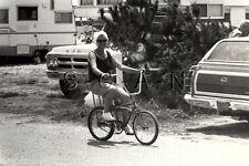 Original Vintage 1970 Large Toy RP- Camper- Camping- Woman Rides Cool Bicycle