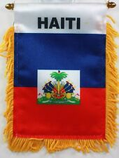 Haiti MINI BANNER FLAG CAR & HOME WINDOW MIRROR HANGING 2 SIDED