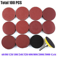 100PC 2 Inch Sanding Discs with M6 Backer Plate PSA Sandpaper Hook and Loop Pads