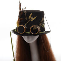 Steampunk Gothic Punk Hat Gear Feather Glasses Top Hat Party Fedora Cap