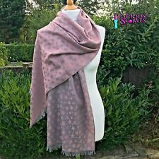 STAR PASHMINA LADIES SCARF PINK & GREY VERY SOFT ,STYLISH WRAP SHAWL