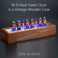 IN-8 Nixie Tubes Clock Vintage Wooden Case with Sockets [Divergence Meter mini]