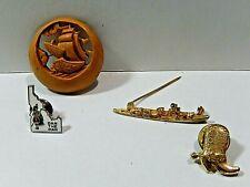 Vintage Brooches or Pins lot of Four Ship, Idaho, Cowboy Boot & wood scene Pin