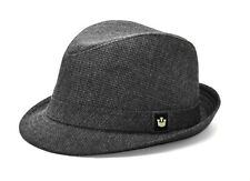 A8 NEW GOORIN Charcoal Gray Rayon Blend Fedora Hat Size Large