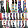 Womens BOHO Graphic Maxi Skirt High Waisted Long Gypsy Franki Swing Flared Dress