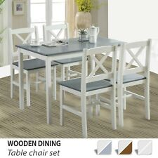 Solid Wooden Dining Table and Chairs Set 4 Seater Kitchen Furniture Dining Room