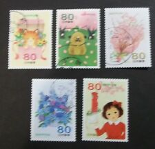 JAPAN USED 2012 SPRING GREETINGS 5 VALUE VF COMPLETE SET SC# 3400 a - e