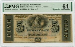 1800's $5 The Citizens' Bank - New Orleans, LOUISIANA Note PMG Ch.CU 64