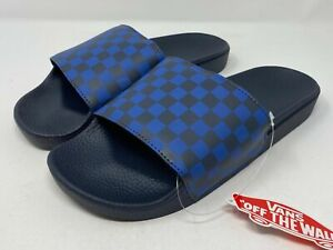 Vans Men's Slide-On Blue Checkerboard Slides Sandals India Ink Navy Size 11 NEW