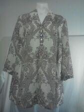 Savannah Ladies Tunic Top in Beige and Brown Paisley Pattern Semi-sheer Size 10