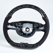 Flat Bottom Steering Wheel Forged Carbon Fiber Suede For Mercedes Benz W205