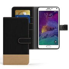 Tasche für Samsung Galaxy Note 4 Jeans Cover Handy Schutz Hülle Case Schwarz