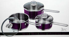3pc Saucepan Set Stainless Steel Cookware Pot With Glass Lids Sauce Pan Purple