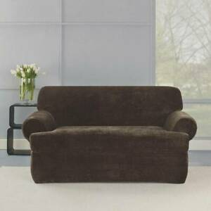 New~Surefit Loveseat Slipcover~2 piece~T-Cushion~Stretch Plush Formfit~Chocolate
