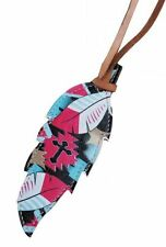 """Painted Tie On TEAL Cross Feather 5"""" x 2"""" Rodeo Saddle Speed Cowgirl Leather"""