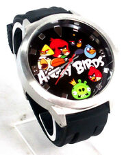Angry Birds Mens Black Dial Silver-Tone SS Black Rubber Strap Watch ANB016S