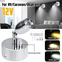 12V LED Spot Reading Light Bedside Wall Lamp Dimmable RV Boat Caravan