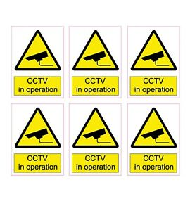 *Pack of 6* CCTV In Operation Stickers 100mm x 75mm, CCTV Security Stickers sc1