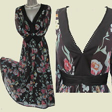 Marks Spencer Black Floral Print Silky Chiffon V Neck Embellished Midi Dress 12