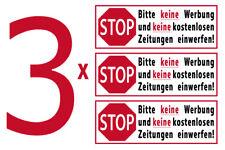 Aufkleber Bitte keine Werbung und kostenlose Zeitungen einwerfen Briefkasten