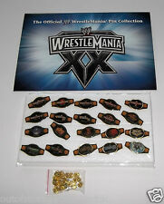 The Official WWE/WWF WrestleMania 20th Anniversary Pin Belt Collectible Set NEW
