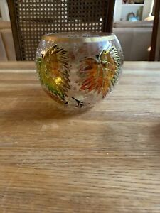 Crackle GLASS CANDLE HOLDER LEAVES ROUND SHAPE APX 4 1/2 IN WIDE 5 INCHES HIGH