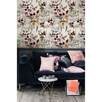 Field composition Removable wallpaper red and brown Home Decor