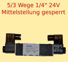 "Pneumatikventil 5/3 Wege 24 V 1/4"" 1,5-8 bar 5/3 Wegeventil Mitte gesperrt #534"