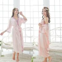 Women's Silk Sleepwear Pajamas Nightgown Nightskirt Nightdress Lingerie Fashion