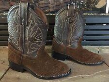 Kids/Toddler Sz 9.5D ACME Brown Suede Leather Western Cowboy Boots 42490 EUC