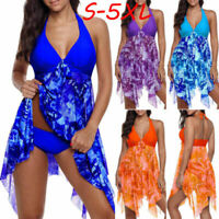 Plus Size Women Asymmetric Swimdress Two Piece Halter Swimwear Tankini Beachwear