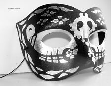 VENETIAN STAG FANCY DRESS PARTY MENS BLACK & SILVER HALF MASK WITH BLACK DESIGN