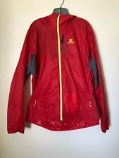 SALOMON Windbreker Jacket Men's XL ACTI LOFT Lightweight Full Zip Hooded Red