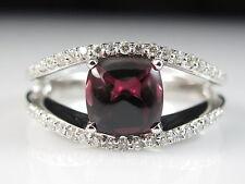 14K Pink Tourmaline Diamond Ring Sugar Loaf Designer Fine Jewelry Size 7