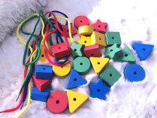 BIG Wood Math Blocks Shapes Counting Beads Toy School Supplies Educational 26