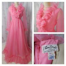 1960s Vintage Party DRESS~EMMA DOMB~Hot Pink CHIFFON GOWN RUFFLES 36B 26W