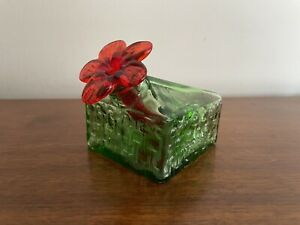 Par-A-Sol Glass Hummingbird Feeder Green & red flower box EXCELLENT